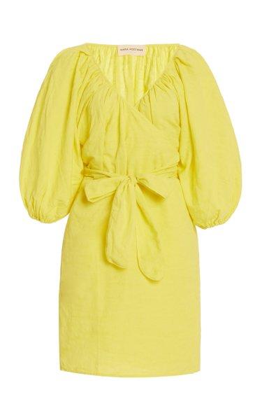 Coletta Organic Cotton-Linen Mini Wrap Dress