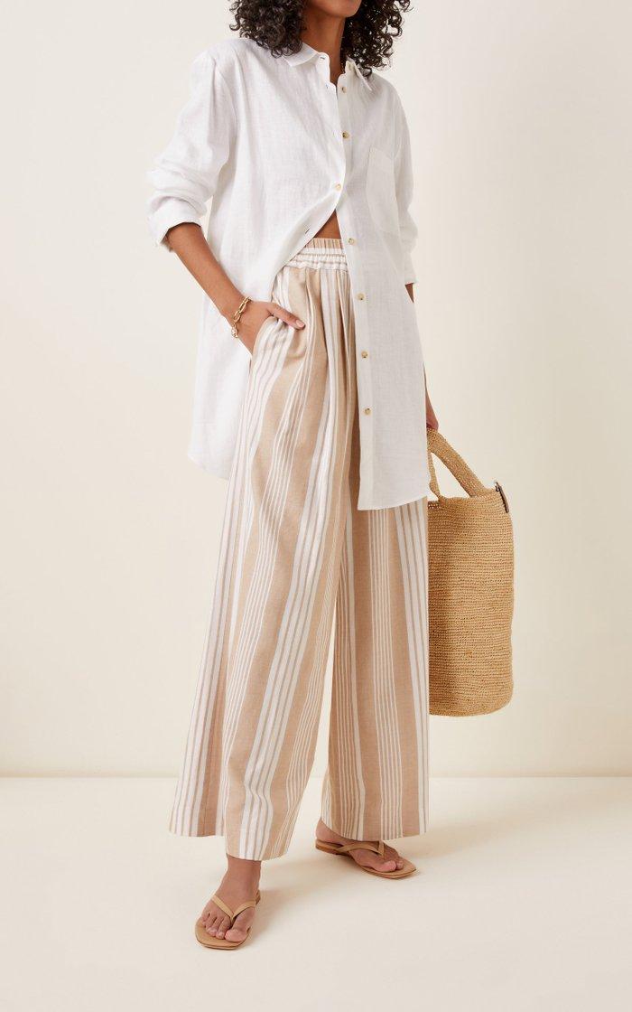 Paloma Striped Tencel-Cotton Wide-Leg Pants