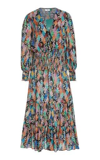 Maya Smocked Printed Crepe Midi Dress