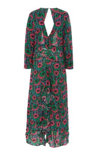 Rose Printed Crepe De Chine Maxi Dress