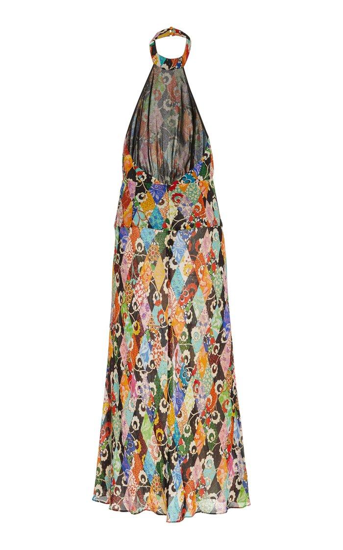 Kendra Halterneck Printed Chiffon Maxi Dress