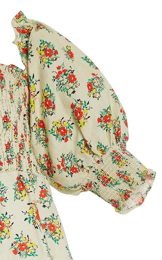 Katarina Smocked Printed Cotton-Blend Peplum Top