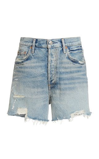 Dee Rigid High-Rise Distressed Denim Shorts