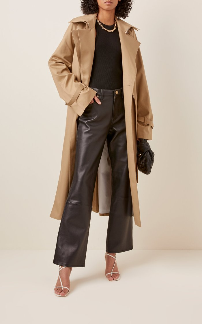 Leather High-Rise Bootcut Pants