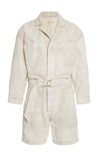 Willa Belted Cotton-Linen Utility Romper