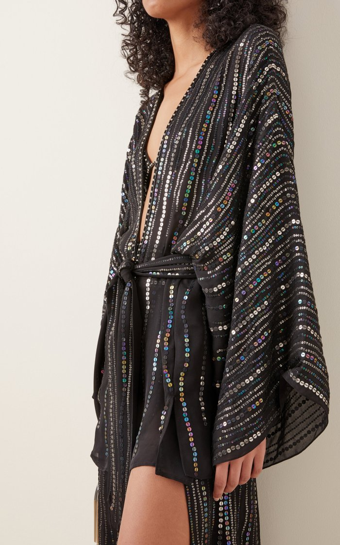 Sequin-Embellished Silk Georgette Kaftan