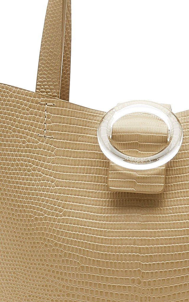 Embossed Leather Shell Tote