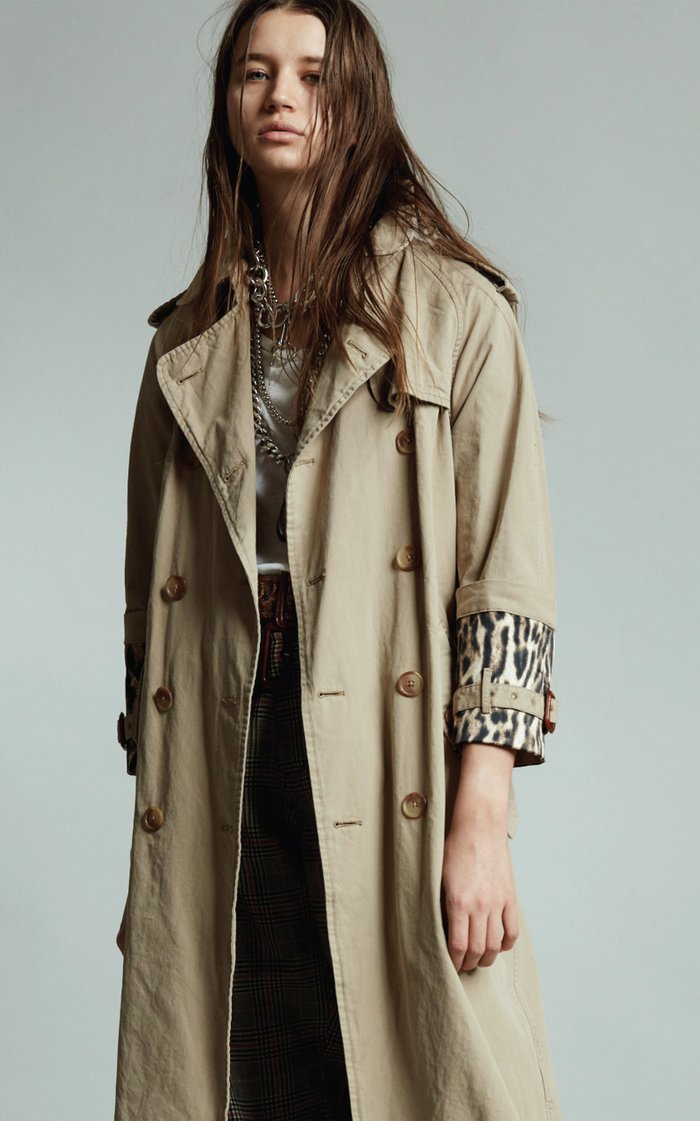 Foldover Cuff Trench Coat