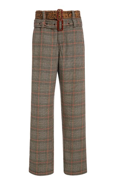 Double Belt Check Print Pants