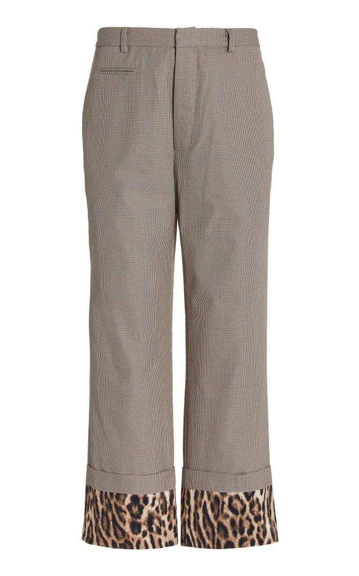 Silk-Paneled Cotton-Twill Straight-Leg Pants