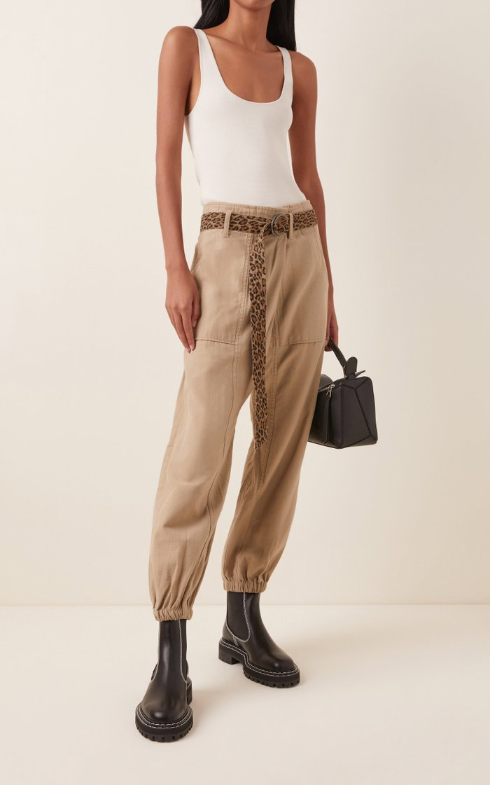 Belted Cotton-Twill Tapered Pants