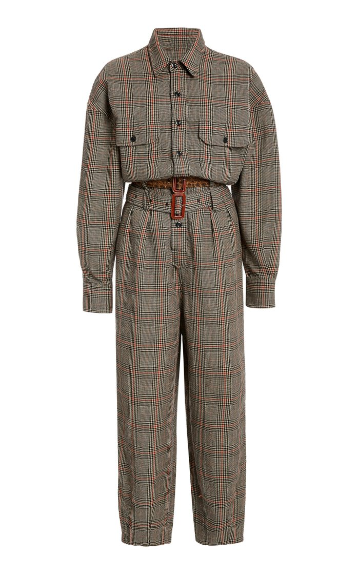 Belted Prince Of Wales Checked Cotton Jumpsuit