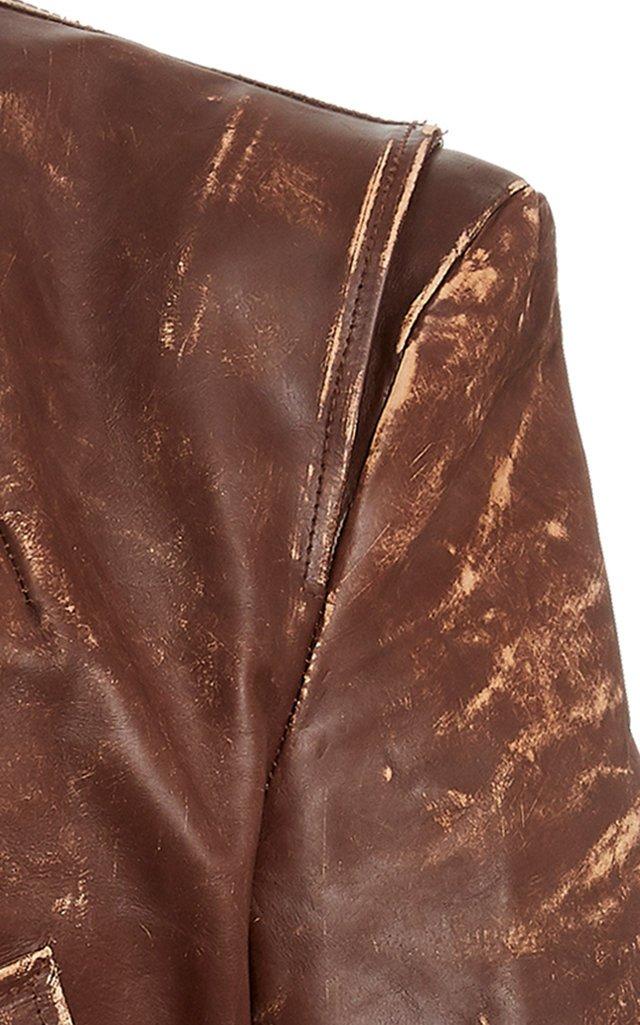Americana Distressed Leather Zip Jacket
