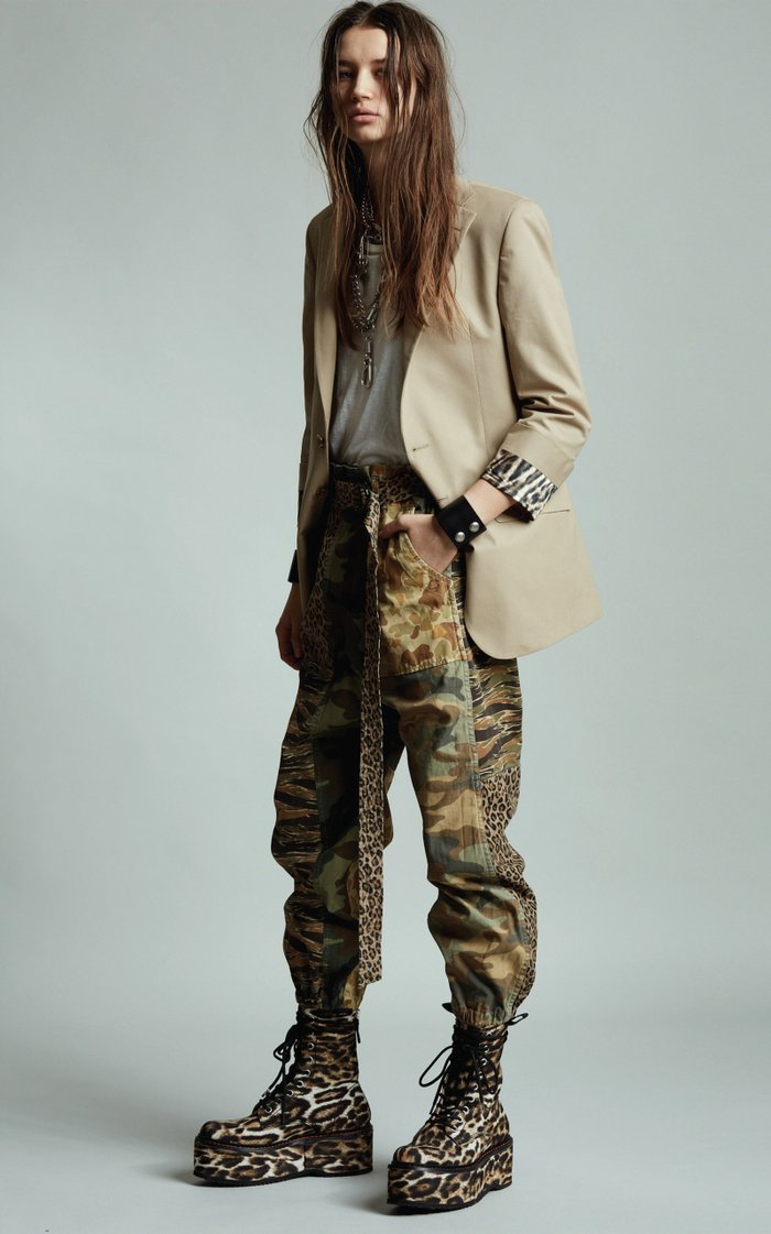 Belted Patchwork Cotton-Twill Tapered Pants