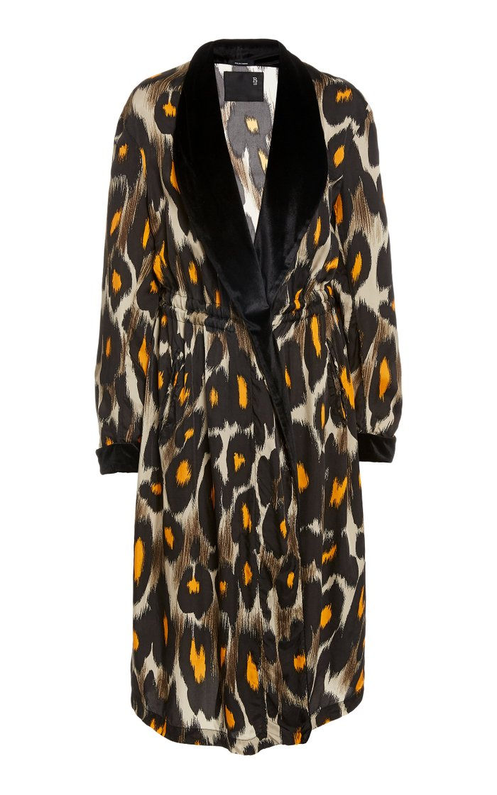 Leopard Print Cinched Waist Robe