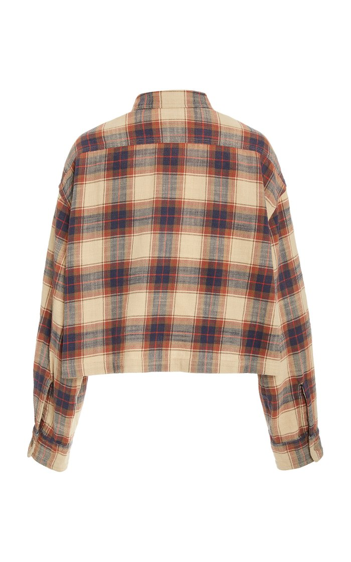 Cropped Check Print Button-Down Shirt