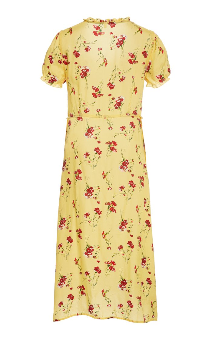Floral Print Button-Down Midi Dress