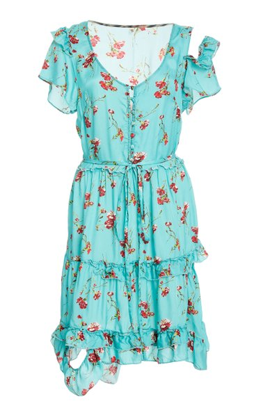 Deconstructed Floral Print Babydoll Dress