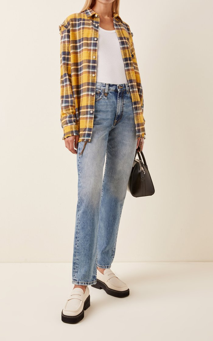 Distressed Checked Cotton-Flannel Shirt
