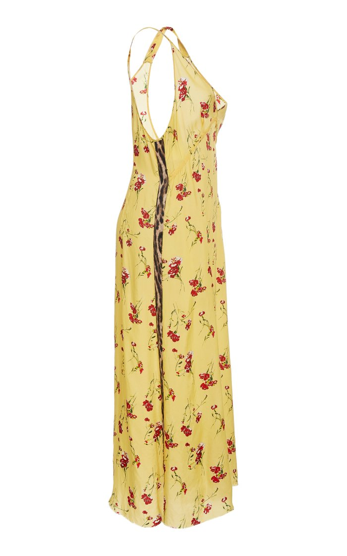 Side Stripe Floral Print Slip Dress