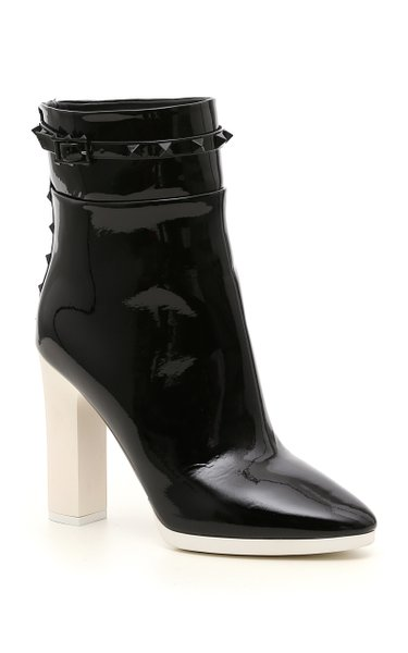 Valentino Garavani Rockstud-Detailed Patent Leather Ankle Boots