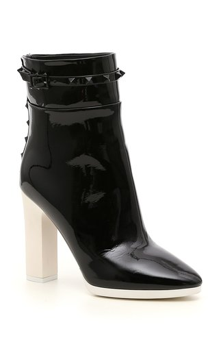 Valentino Garavani White Wave Patent Leather Ankle Boots