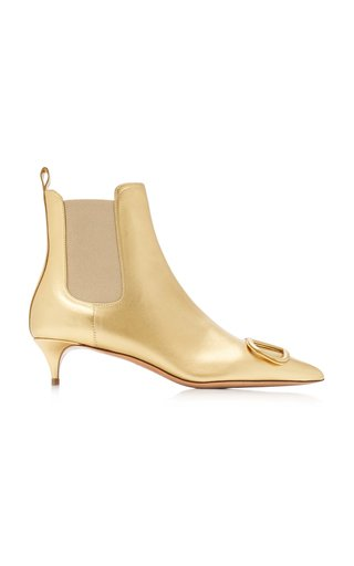 Valentino Garavani VLogo Metallic Leather Boots