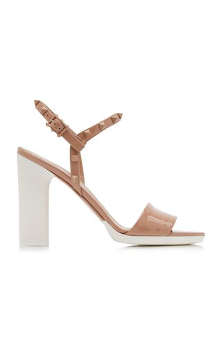 Valentino Garavani White Wave Patent Leather Sandals
