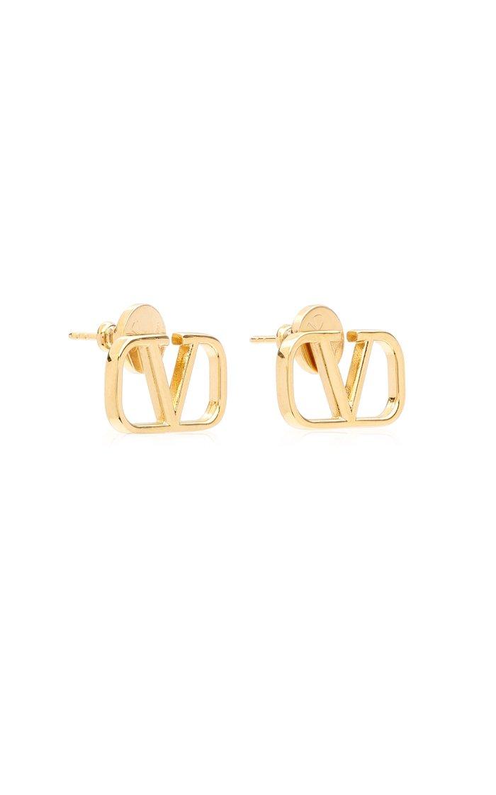 Valentino Garavani Logo Metal Stud Earrings