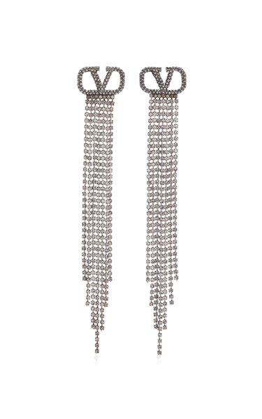 Valentino Garavani VLogo Silver-Tone And Crystal Earrings