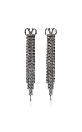 Valentino Garavani VLogo Silver-Tone And Crystal Earrings