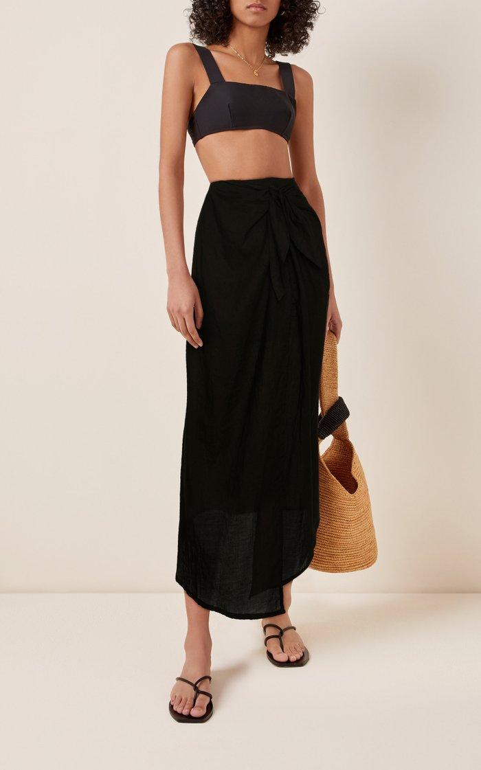 Ramie Wrap Maxi Skirt