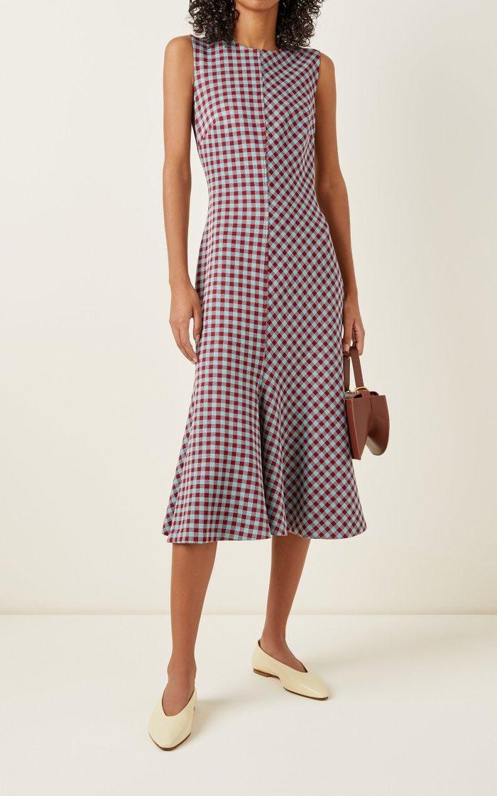 Fluted Gingham Knit Midi Dress
