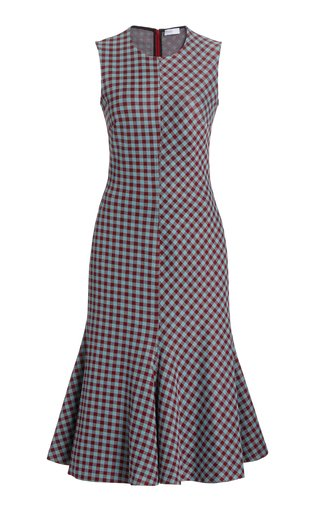 Fluted Gingham Knit Midi Dress