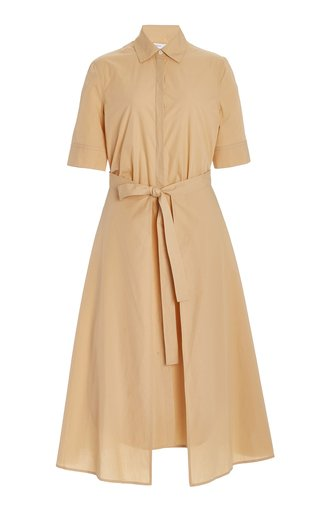 Cotton Midi Apron Shirt Dress
