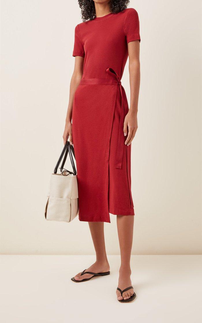 Wrap-Effect Cotton-Jersey Dress