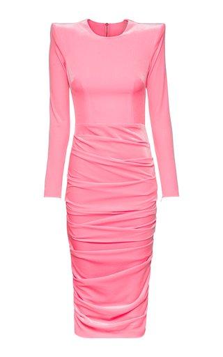 Lucas Ruched Velvet Midi Dress
