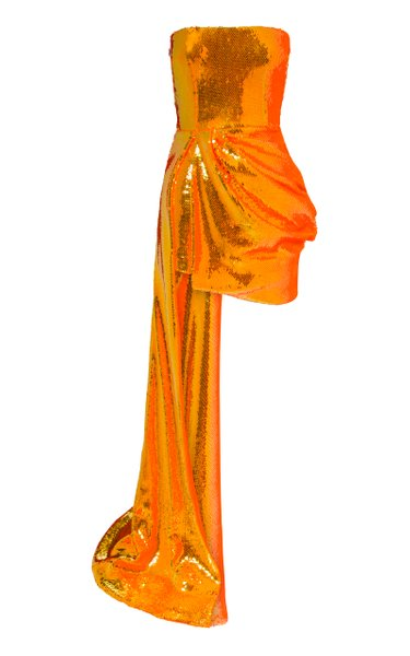 Blaine Drape-Detailed Sequined Straples Mini Dress