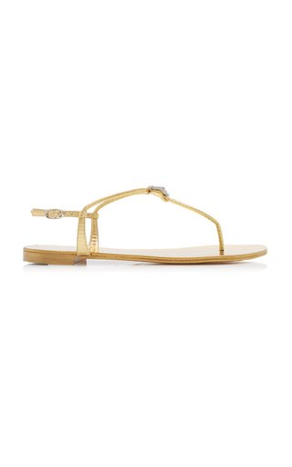 Brooch-Embellished Leather T-Strap Sandals