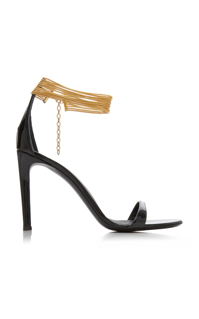 Cuff-Detailed Leather Sandals