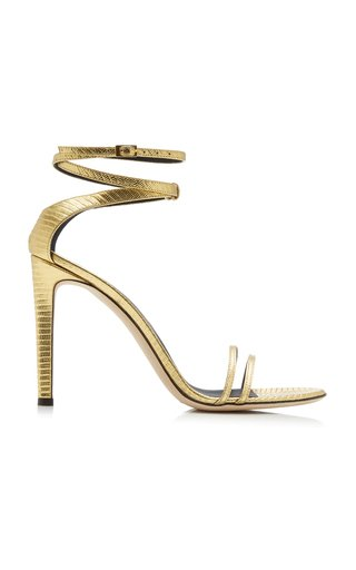 Catia Lizard-Effect Leather Sandals