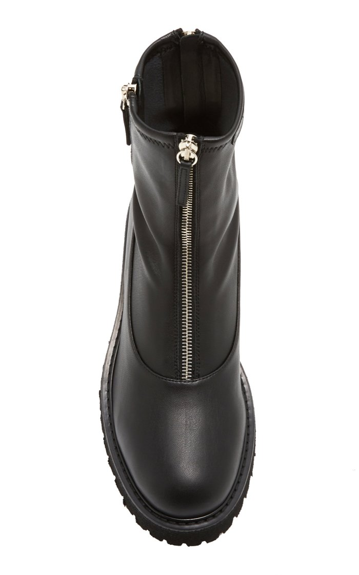 Leather Zipper Ankle Boots