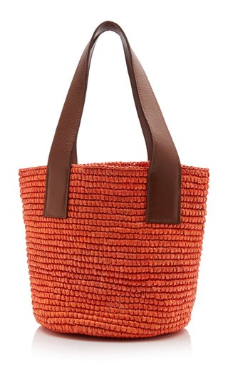 Medium Leather-Trimmed Straw Tote