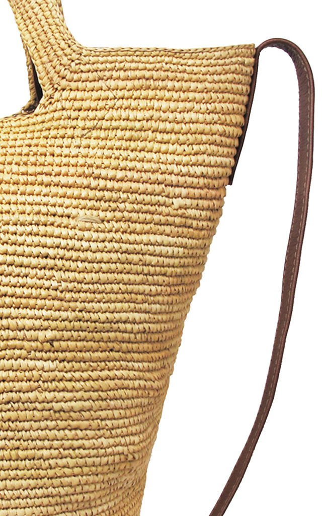 Leather-Trimmed Tall Straw Tote