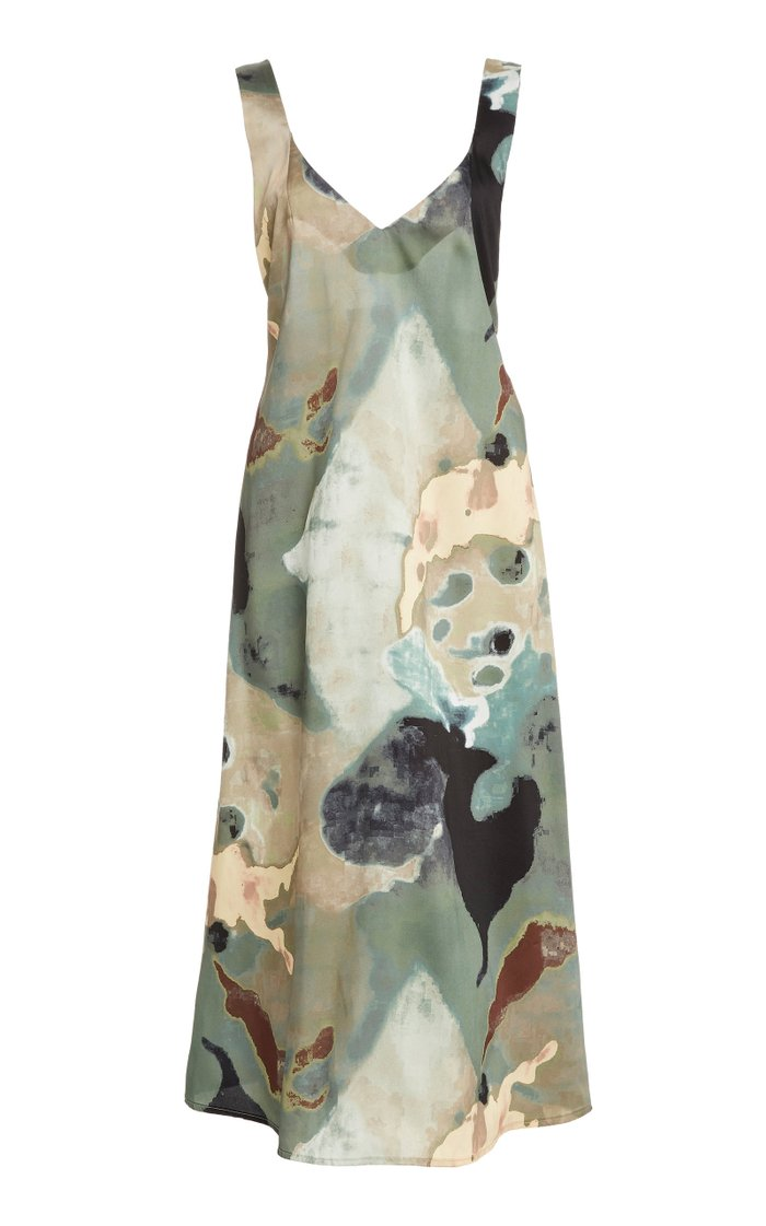 Rohe Printed Crepe De Chine Midi Dress