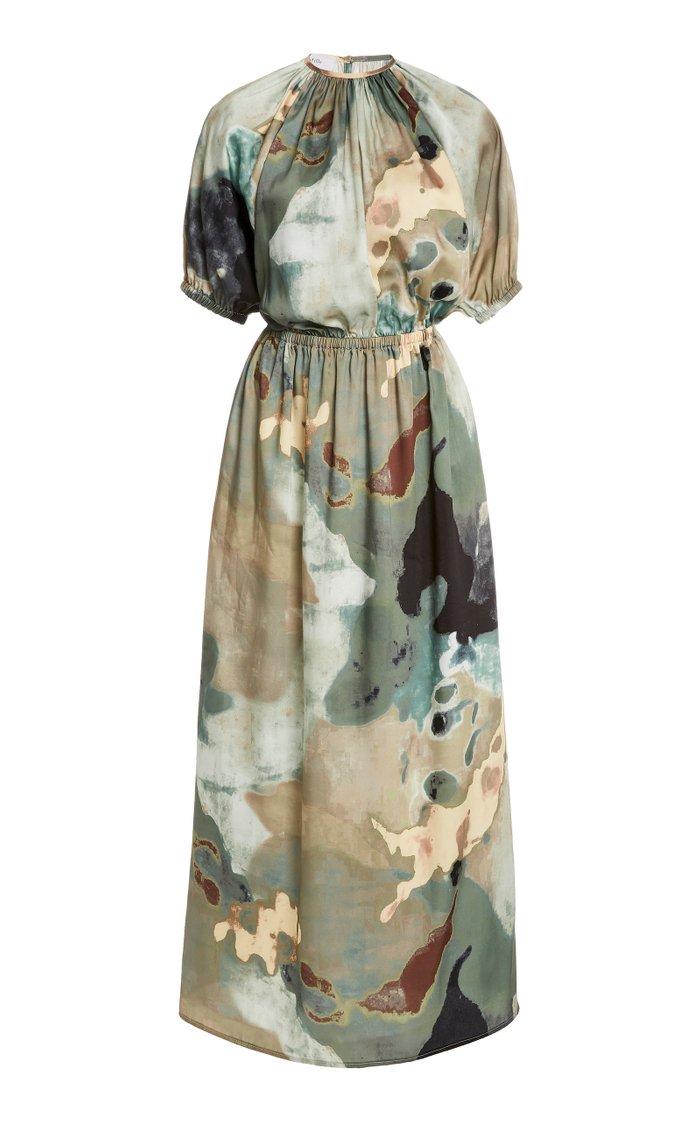 Solari Printed Crepe De Chine Maxi Dress