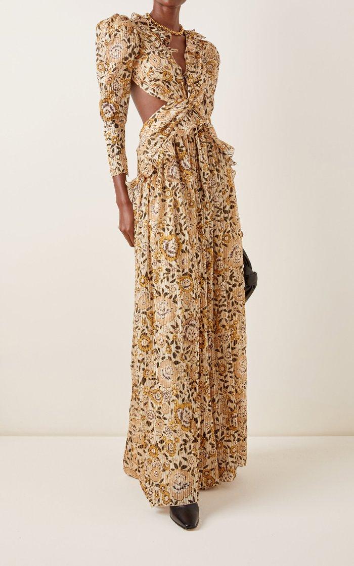 Tundra Cutout Printed Metallic Silk Maxi Dress