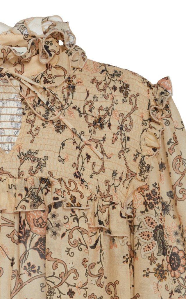 Baluchi Printed Silk-Blend Blouse