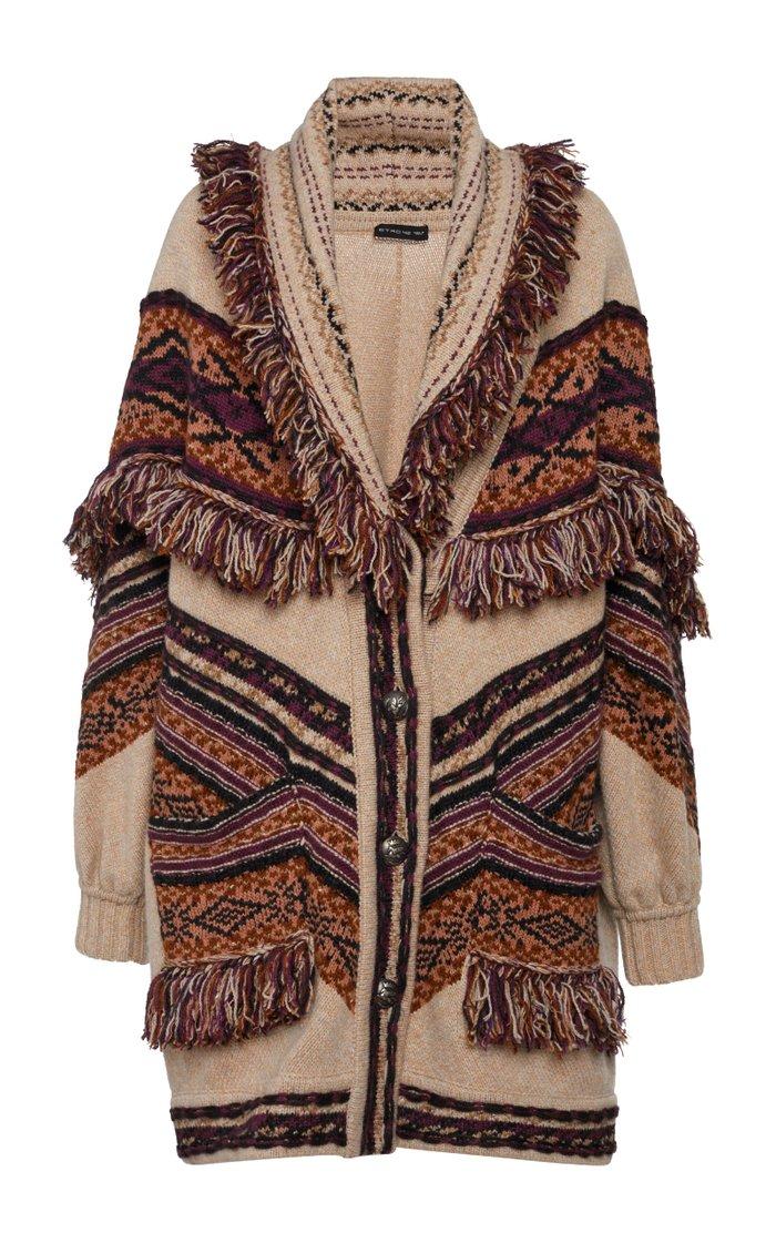 Fringed Intarsia Wool-Blend Cardigan