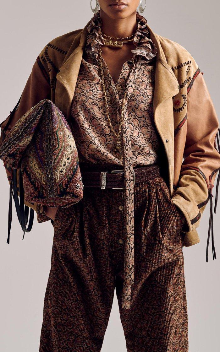 Fringed Faux-Leather Jacket